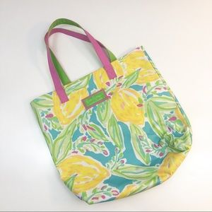 Lilly Pulitzer tote bag lemons and leaves